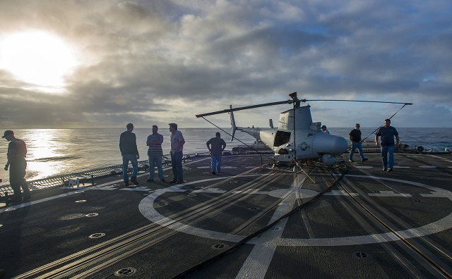 The U.S. Navy completed an MQ-8B Fire Scout demonstration aboard U.S. Coast Guard Cutter (USCGC) Bertholf (WMSL 750) on Dec. 12 as part of the Coast Guard's ongoing efforts to assess the potential for future unmanned air system (UAS) operations from the 418-foot National Security Cutter class.