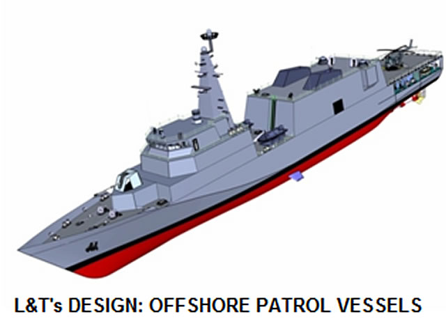Indian Shipbuilder Larsen & Toubro (L&T) has been awarded a contract valued at Rs 1,432 crores by the Ministry of Defence for the design and construction of seven Offshore Patrol Vessels (OPVs) for the Indian Coast Guard (ICG).