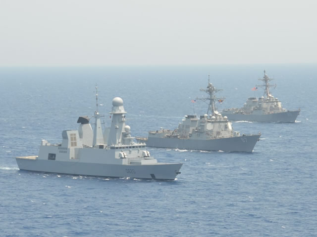"In another example of the high interoperability between the French Navy (Marine Nationale) and the US Navy, the Horizon-class AAW Destroyer Forbin (classified as ""Frigate"" in the French Navy) is currently at the head of a combined mission with US Navy Arleigh Burke-class destroyers USS Roosvelt (DDG 80) and USS Mason (DDG 87) with the occasional presence of Ticonderoga-class guided-missile cruiser USS Monterey (CG-61) as well."