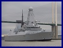 HMS Dauntless has today become the first of the Royal Navy's new Type 45 Destroyers to visit the capital as she sailed up the Thames to dock outside the Excel Centre in London's Docklands, which is hosting the Defence and Security Equipment International (DESi) event next week.